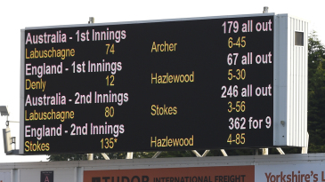 The final scoreboard at Headingley