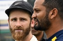Kane Williamson and Dimuth Karunaratne interact during the presentation ceremony, Sri Lanka v New Zealand, 2nd Test, Colombo (PSS), Day 5, August 26, 2019