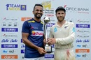 Dimuth Karunaratne and Kane Williamson pose with the trophy, Sri Lanka v New Zealand, 2nd Test, Colombo (PSS), Day 5, August 26, 2019