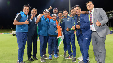 Paras Mhambrey (back) was among the support staff when India won the 2018 Under-19 World Cup