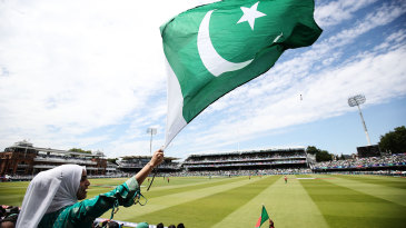 A fan waves a Pakistan flag in the stands