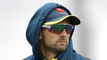 Nathan Lyon of Australia looks on during day one of the Tour Match between Derbyshire CCC and Australia