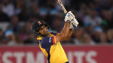 Ravi Bopara launches one over the leg side