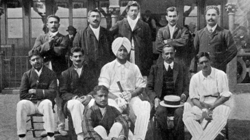 Motley crew: the All India cricket team that toured England in 1911. Palwankar Baloo is seated on the ground