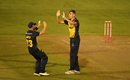 Roman Walker gets a pair of high fives, Glamorgan v Hampshire, Vitality Blast, South Group, Cardiff, August 30, 2019