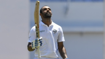 Hanuma Vihari looks skywards after his maiden Test century