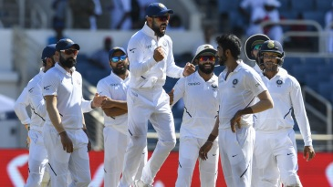 Virat Kohli is literally over the moon after a successful review for a Test hat-trick for Bumrah