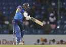 Kusal Perera slams the ball down the ground, Sri Lanka v New Zealand, 1st T20I, Pallekele, September 1, 2019