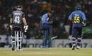 Wanindu Hasaranga strikes off his second ball in T20Is, Sri Lanka v New Zealand, 1st T20I, Pallekele, September 1, 2019