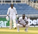 Kemar Roach reacts with relief after getting Mayank Agarwal out lbw, West Indies v India, 2nd Test, Kingston, September 1, 2019