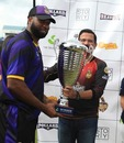 Kieron Pollard receives the trophy from Venky Mysore, Bravo XI v Pollard XI, Selector Fans Cup, Port of Spain, September 1, 2019