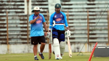 Soumya Sarkar is all ears as Russell Domingo makes a point