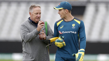 Tim Paine chats with Ian Healy during Australia