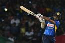 Shehan Jayasuriya smashes the ball into the leg side, Sri Lanka v New Zealand, 2nd T20I, Pallekele, September 3, 2019