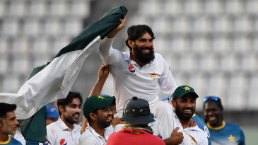 Misbah-ul-Haq is carried off the field after his final Test in 2017
