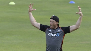 Martin Guptill at a training session in Pallekele before the first T20I