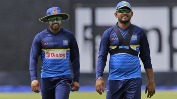Kusal Mendis and Shehan Jayasuriya attend a training session