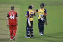 Ravi Bopara and Ryan ten Doeschate celebrate after beating Lancashire, Lancashire v Essex, Vitality Blast, 1st quarter-final, Chester-le-Street