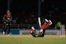 Evin Lewis is floored by Mohammad Hasnain, Trinbago Knight Riders v St Kitts & Nevis Patriots, Caribbean Premier League, Port-of-Spain, September 4, 2019