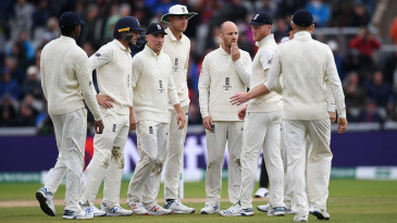 Jack Leach with his team-mates after his dismissal of Steven Smith of Australia is shown to have being a no ball
