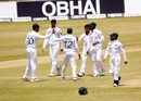 Mehidy Hasan celebrates a wicket with his colleagues, Bangladesh v Afghanistan, Only Test, Chattogram, 2nd day, September 6, 2019