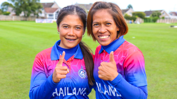 Chanida Sutthiruang and captain Sornnarin Tippoch smile after clinching Thailand's first trip to the T20 World Cup