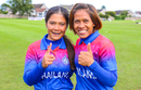 Chanida Sutthiruang and captain Sornnarin Tippoch smile after clinching Thailand's first trip to the T20 World Cup, Papua New Guinea Women v Thailand Women, ICC Women's T20 World Cup Qualifier semi-final, Dundee, September 5, 2019