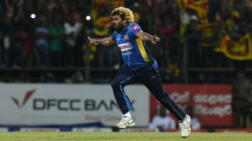 Lasith Malinga takes off in celebration after his hat-trick