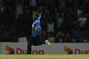 Akila Dananjaya is thrilled after taking a wicket, Sri Lanka v New Zealand, 3rd T20I, Pallekele, September 6, 2019