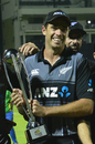 Tim Southee with the trophy after winning the series 2-1, Sri Lanka v New Zealand, 3rd T20I, Pallekele, September 6, 2019