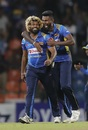 Lasith Malinga and Isuru Udana celebrate, Sri Lanka v New Zealand, 3rd T20I, Pallekele, September 6, 2019
