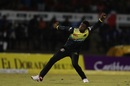Christopher Lamont wheels away in celebration, Trinbago Knight Riders v Jamaica Tallawahs, CPL 2019, Port-of-Spain, September 6, 2019