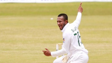 Shakib Al Hasan appeals successfully to send Ihsanullah back lbw