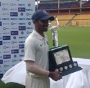 Abhimanyu Easwaran with the Man of the Match trophy, India Red v India Green, Duleep Trophy final, Bengaluru, September 7, 2019