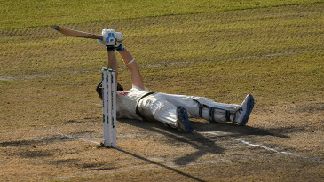 Steven Smith reacts after slipping on the crease