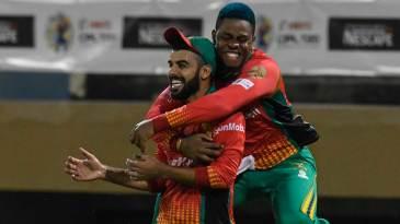 Shadab Khan and Shimron Hetmyer celebrate