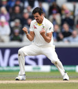 Mitchell Starc celebrates dismissing Jonny Bairstow, England v Australia, 4th Ashes Test, Old Trafford, Manchester, Day 5, September 8, 2019