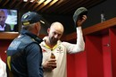 Nathan Lyon doffs his hat as Steve Waugh looks on, England v Australia, The Ashes, 4th Test, Old Trafford, September 8, 2019