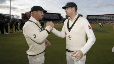 David Warner and Steven Smith shake hands after the match