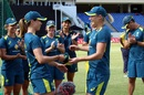 Erin Burns receives her ODI cap from Ellyse Perry, West Indies Women v Australia Women, 2nd ODI, North Sound, September 8, 2019