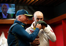 Nathan Lyon and Steve Waugh hold up a baggy green, Old Trafford, September 8, 2019