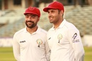 Smile while you're winning - Rashid Khan and Mohammad Nabi after the Test victory, Bangladesh v Afghanistan, Only Test, Chattogram, 5th day, September 9, 2019
