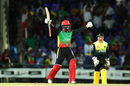 Fabian Allen is thrilled after hitting the winning runs, St Kitts and Nevis Patriots v Jamaica Tallawahs, Basseterre, CPL 2019, September 10, 2019