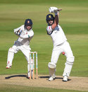 Matthew Lamb drives through the off side, Warwickshire v Essex, Specsavers County Championship, Division One, Edgbaston, 2nd day, September 11, 2019