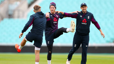 Sam Curran, Ben Stokes and Joe Root warm up at The Oval