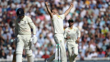 Mitch Marsh celebrates his fifth wicket
