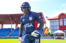 Xavier Marshall walks out at the start of play for USA's first ODI on home soil, USA v Papua New Guinea, CWC League Two tri-series, Lauderhill, September 13, 2019