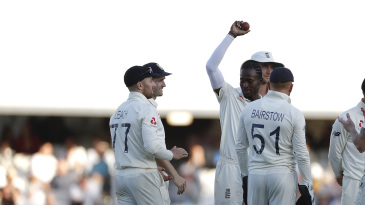 Jofra Archer celebrates his five-wicket haul
