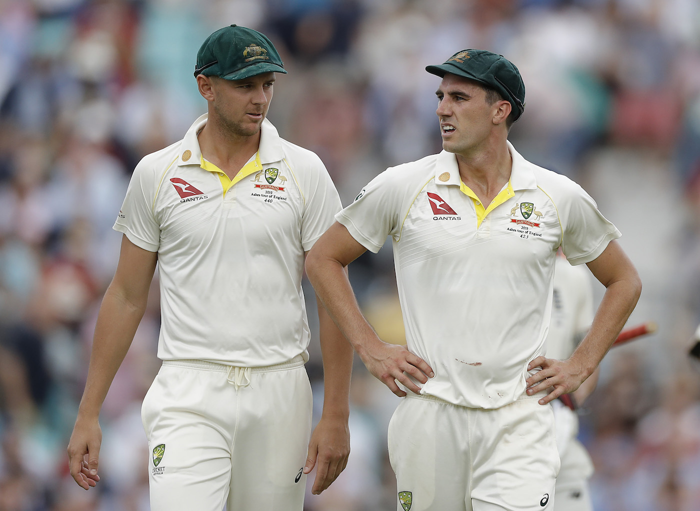 Length merchants: Josh Hazlewood and Pat Cummins are adept at getting batsmen stuck on the crease