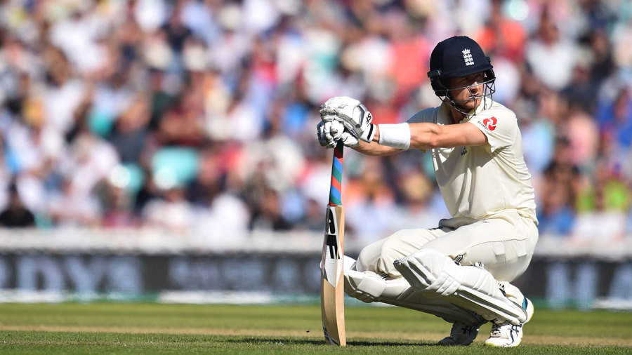Joe Denly takes a breather after a painful blow